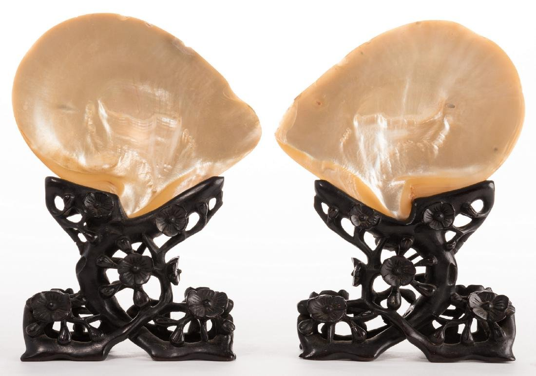 Pr. Chinese Mother of Pearl Shells w/ Carved Stands - 2