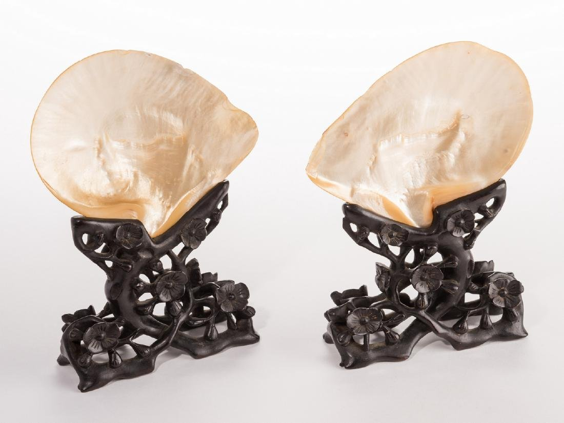Pr. Chinese Mother of Pearl Shells w/ Carved Stands - 3