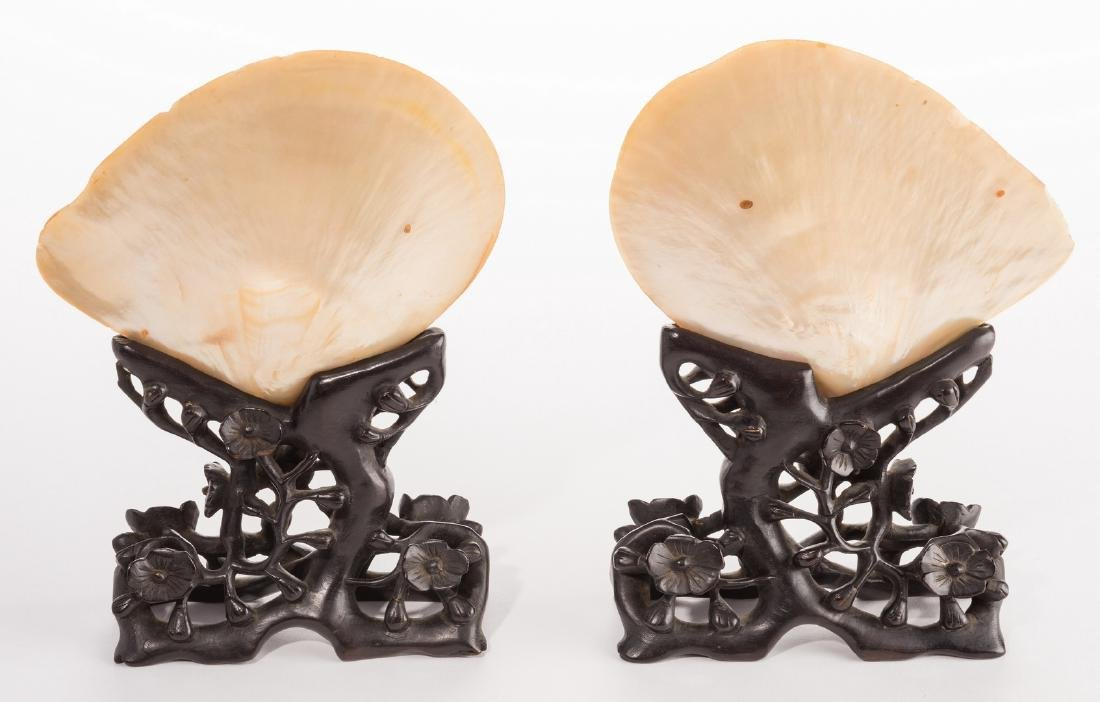 Pr. Chinese Mother of Pearl Shells w/ Carved Stands - 4