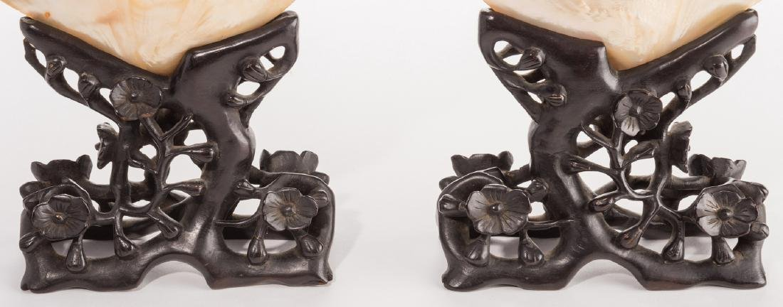 Pr. Chinese Mother of Pearl Shells w/ Carved Stands - 5