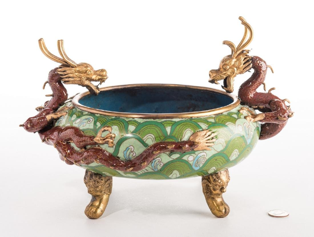 Qing Cloisonne Jardiniere, Dragon Mounts - 2