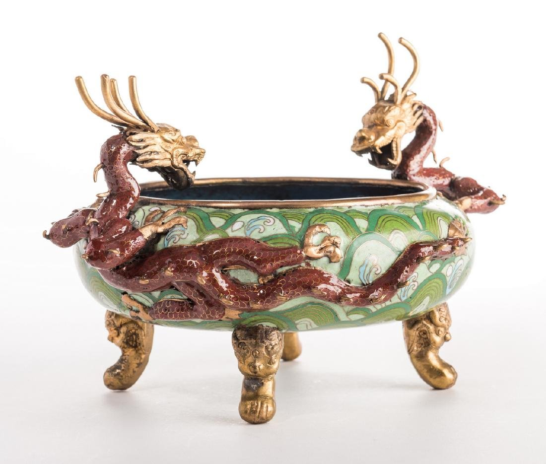 Qing Cloisonne Jardiniere, Dragon Mounts - 3