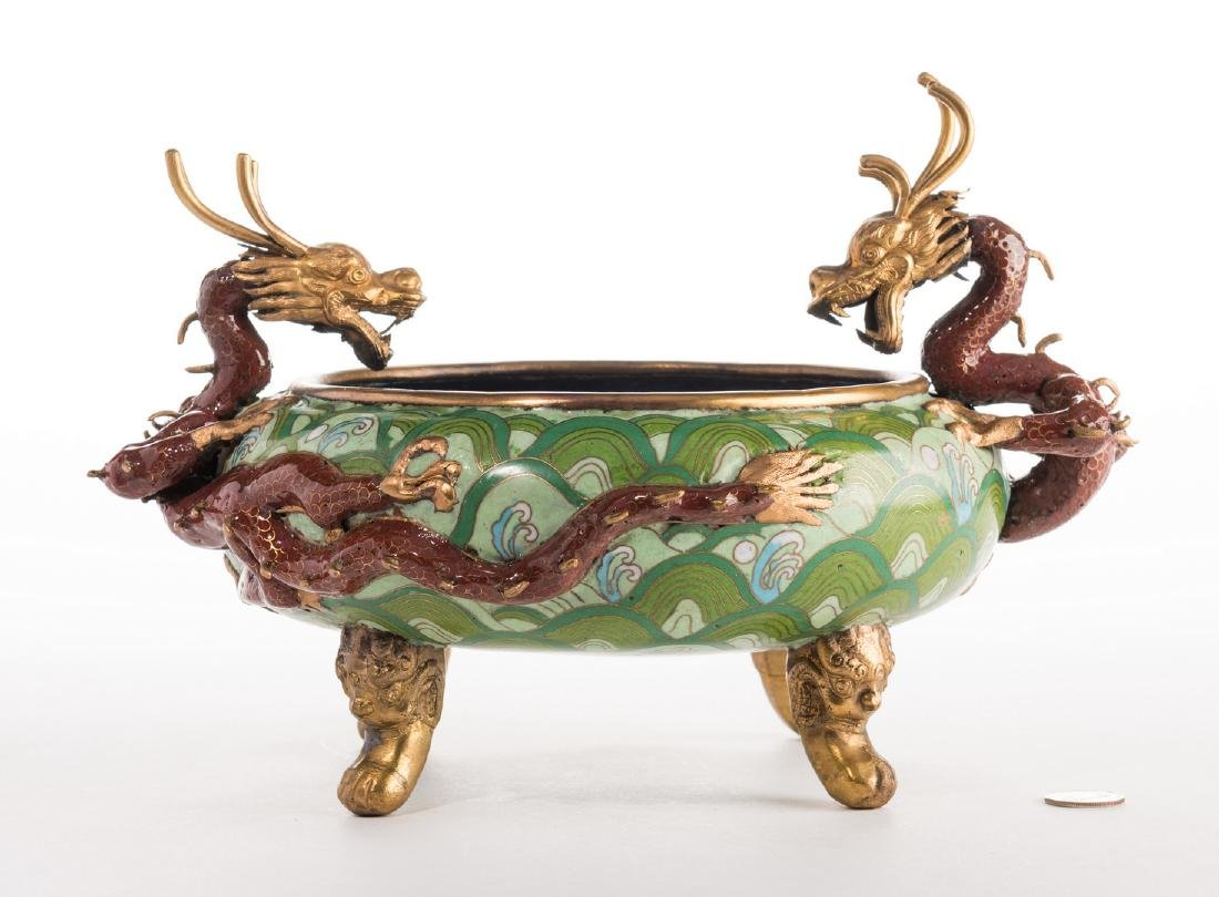 Qing Cloisonne Jardiniere, Dragon Mounts - 8