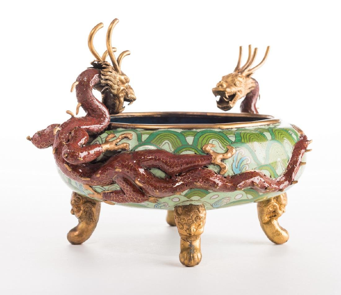 Qing Cloisonne Jardiniere, Dragon Mounts - 9