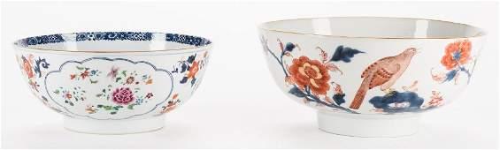 2 large Chinese Imari Export Porcelain Footed Bowls