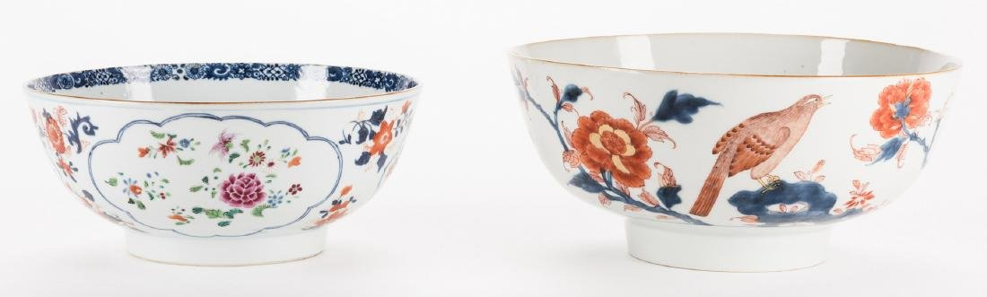 2 large Chinese Imari Export Porcelain Footed Bowls,