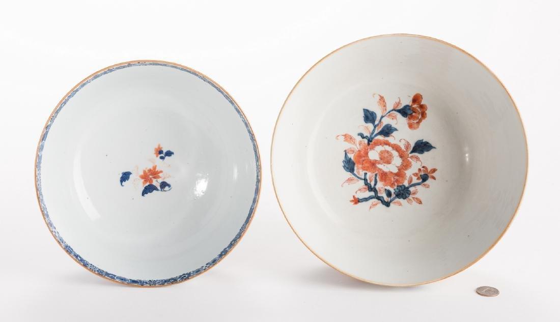 2 large Chinese Imari Export Porcelain Footed Bowls, - 2