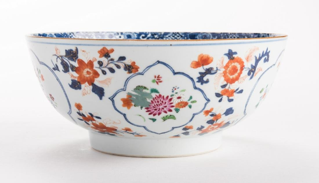2 large Chinese Imari Export Porcelain Footed Bowls, - 3