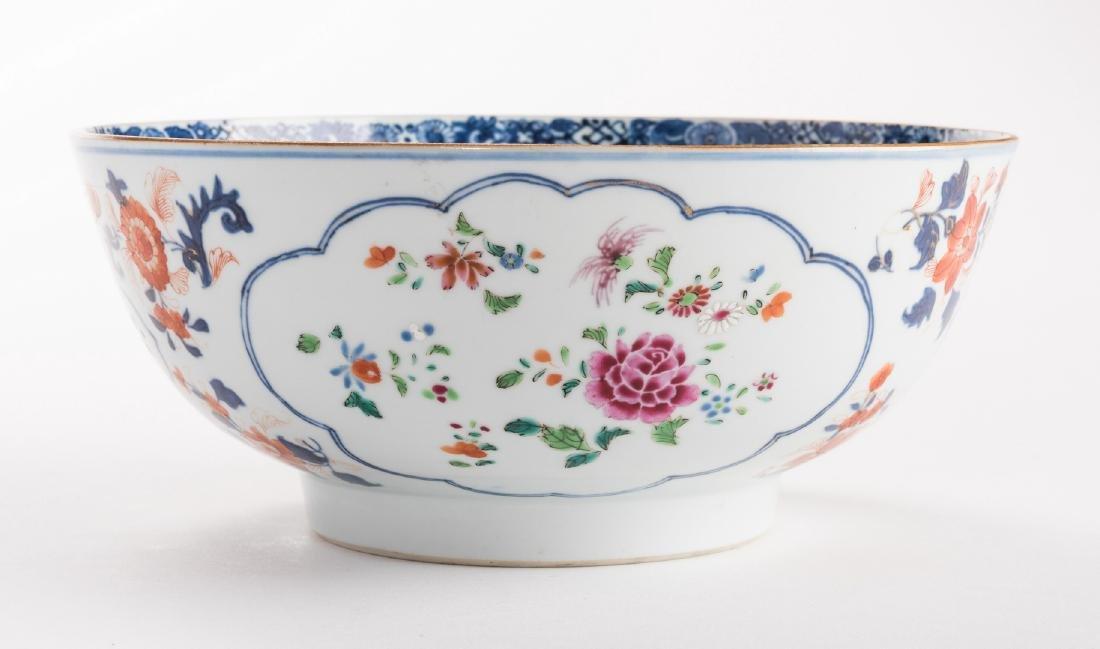2 large Chinese Imari Export Porcelain Footed Bowls, - 4