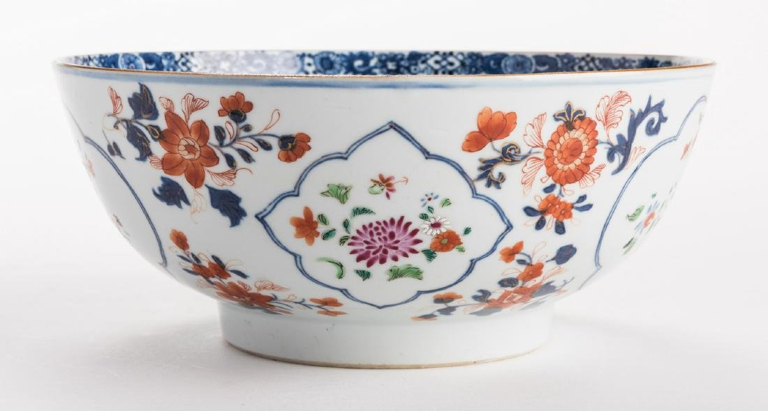 2 large Chinese Imari Export Porcelain Footed Bowls, - 5