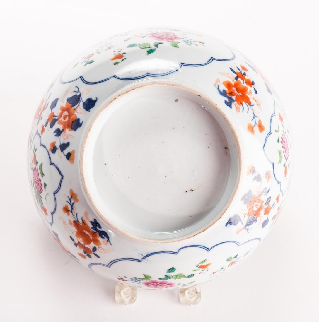 2 large Chinese Imari Export Porcelain Footed Bowls, - 6