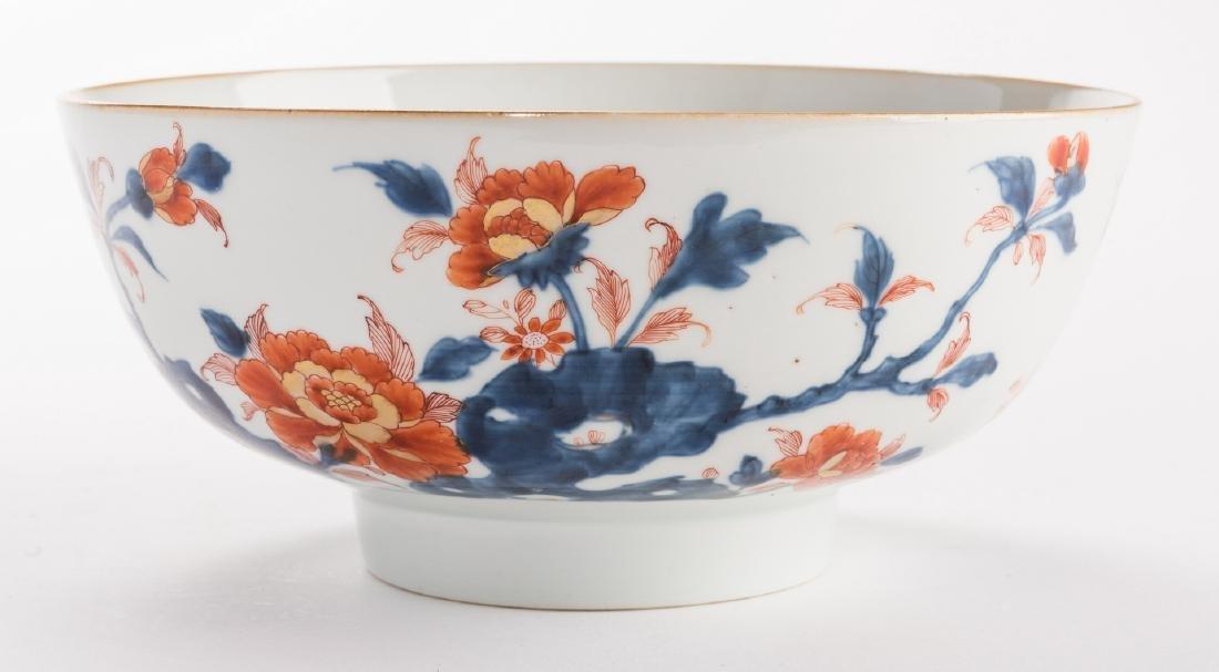 2 large Chinese Imari Export Porcelain Footed Bowls, - 9