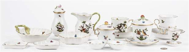 Herend Rothschild Bird Porcelain Dinnerware 15 pcs