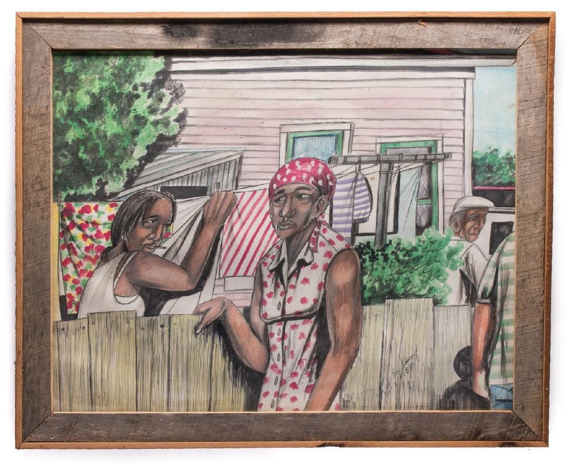 Roy Ferdinand Folk Art Painting, Three Women - 2