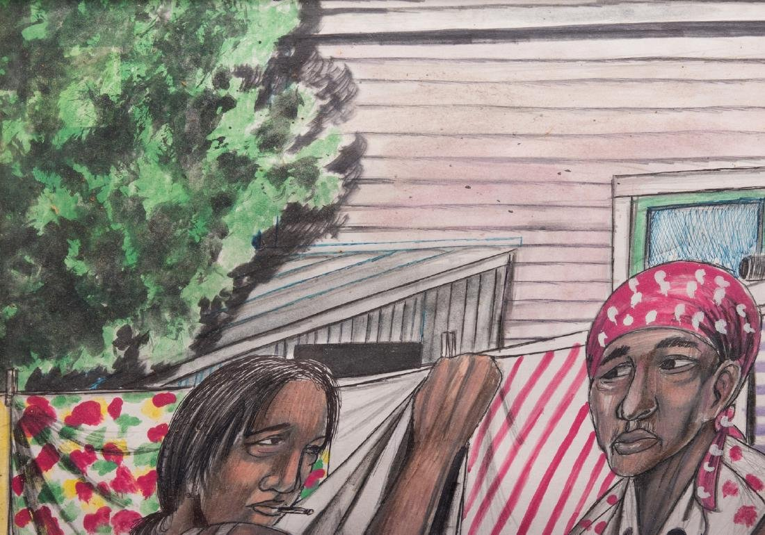 Roy Ferdinand Folk Art Painting, Three Women - 4