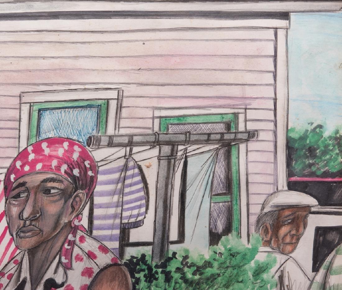Roy Ferdinand Folk Art Painting, Three Women - 5