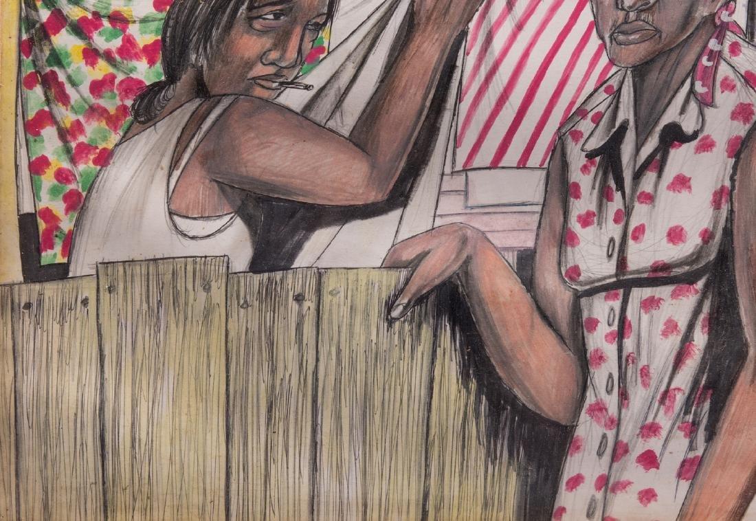 Roy Ferdinand Folk Art Painting, Three Women - 6