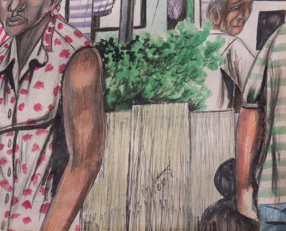 Roy Ferdinand Folk Art Painting, Three Women - 7
