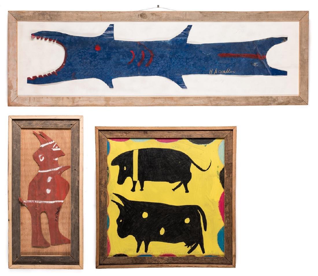 3 R. A. Miller Folk Art Plaques
