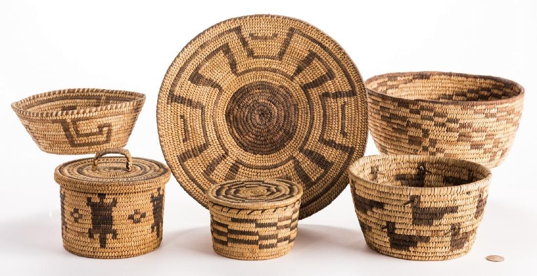 6 Native American Papago Baskets