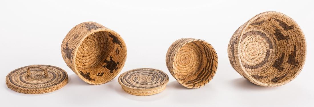 6 Native American Papago Baskets - 4