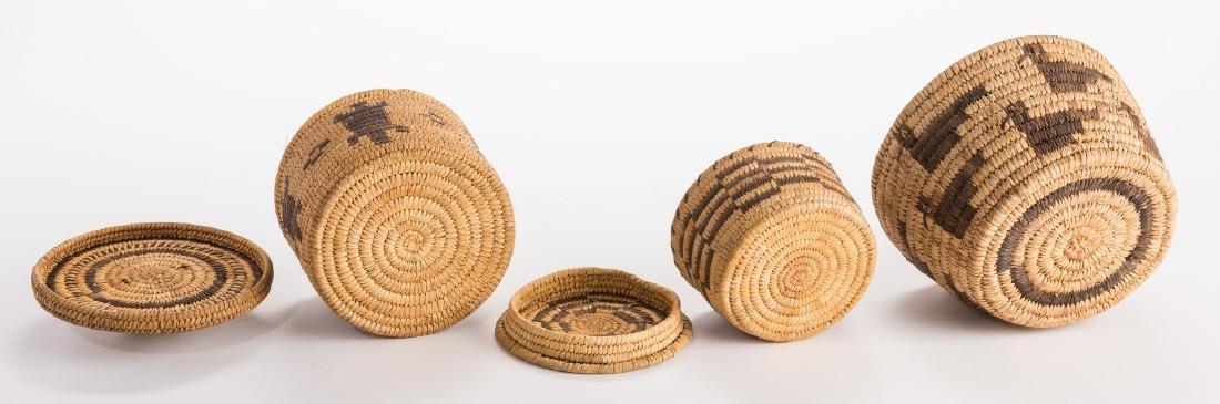 6 Native American Papago Baskets - 5