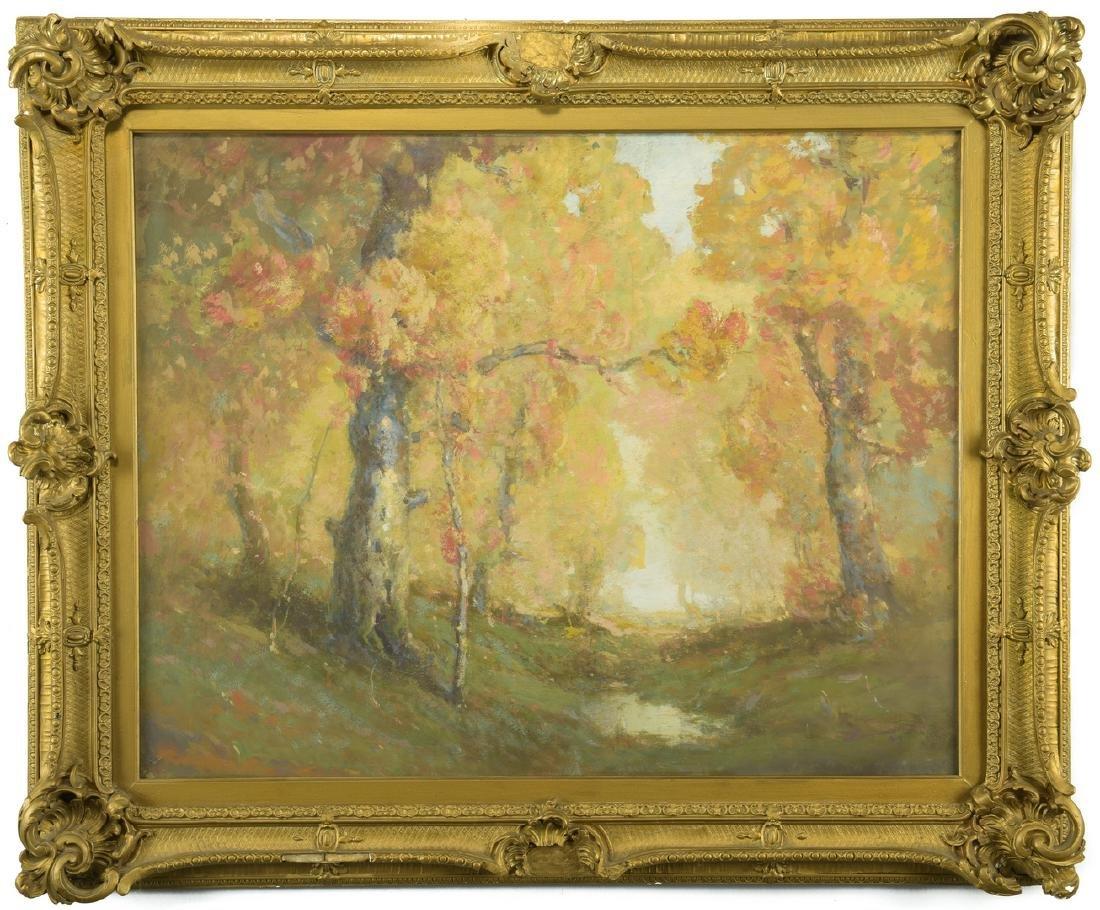 William C. Emerson landscape, tempera on board