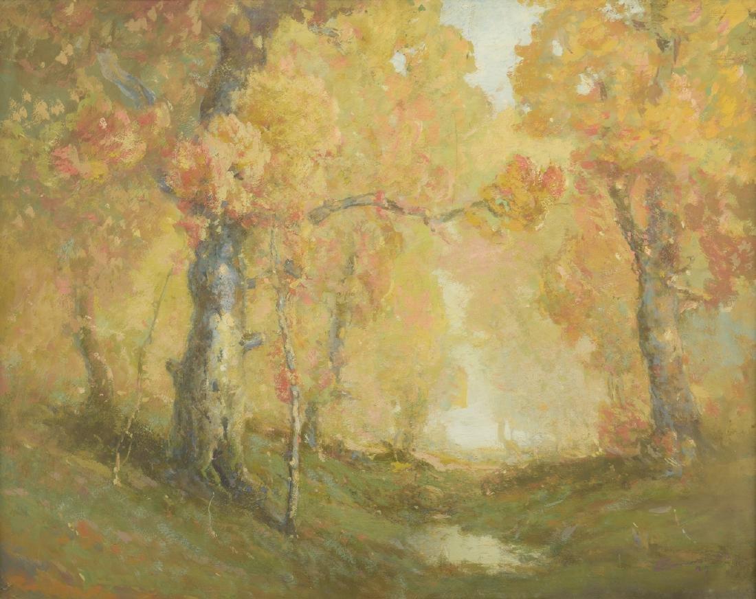 William C. Emerson landscape, tempera on board - 2