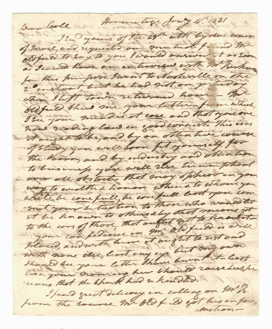 Early Andrew Jackson Signed Letter to Richard K. Call - 3