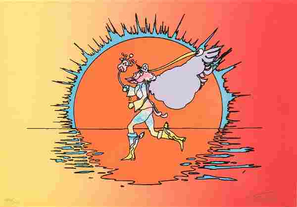 Peter Max Signed Serigraph of a Runner
