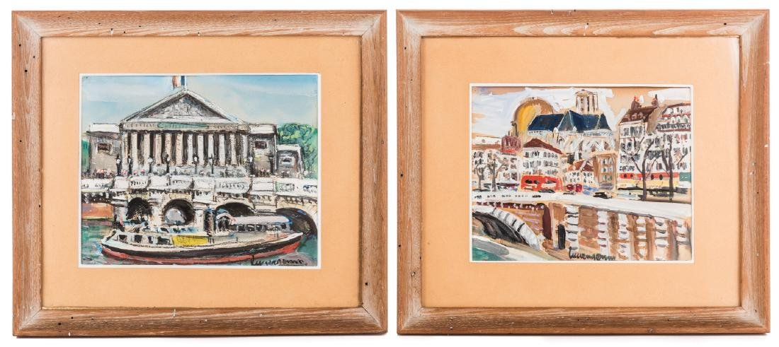 2 Lucien Genin Watercolor Paintings