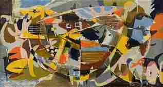 Ted Burnett Cubist Painting, Noah's Ark