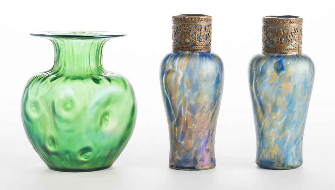 Attr. Loetz or Kralik Art glass Group, 3 pcs