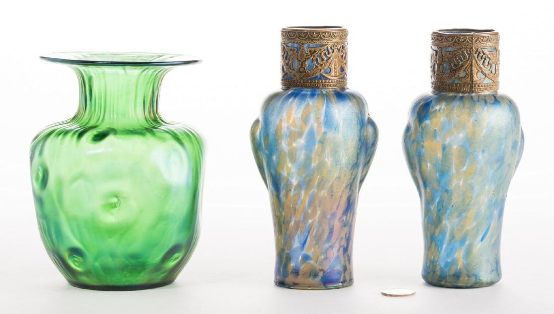 Attr. Loetz or Kralik Art glass Group, 3 pcs - 4