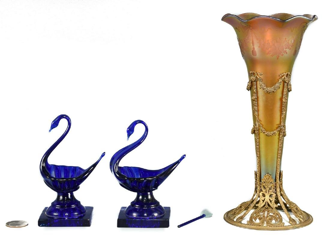 Bronze Mounted Art Glass Vase & 2 Cobalt Glass Swan