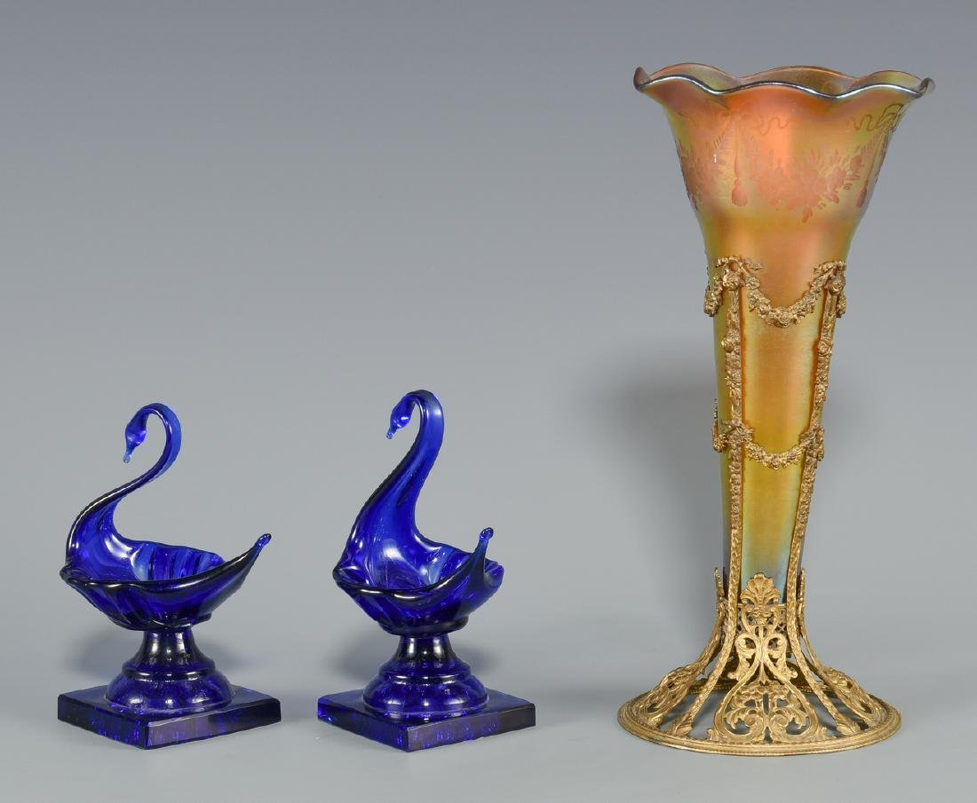 Bronze Mounted Art Glass Vase & 2 Cobalt Glass Swan - 5