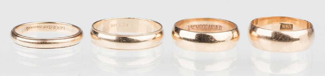 4 gold wedding bands, 14K & 18K
