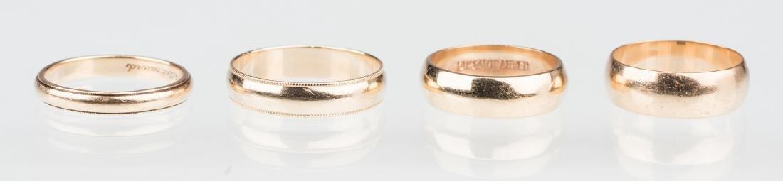 4 gold wedding bands, 14K & 18K - 2