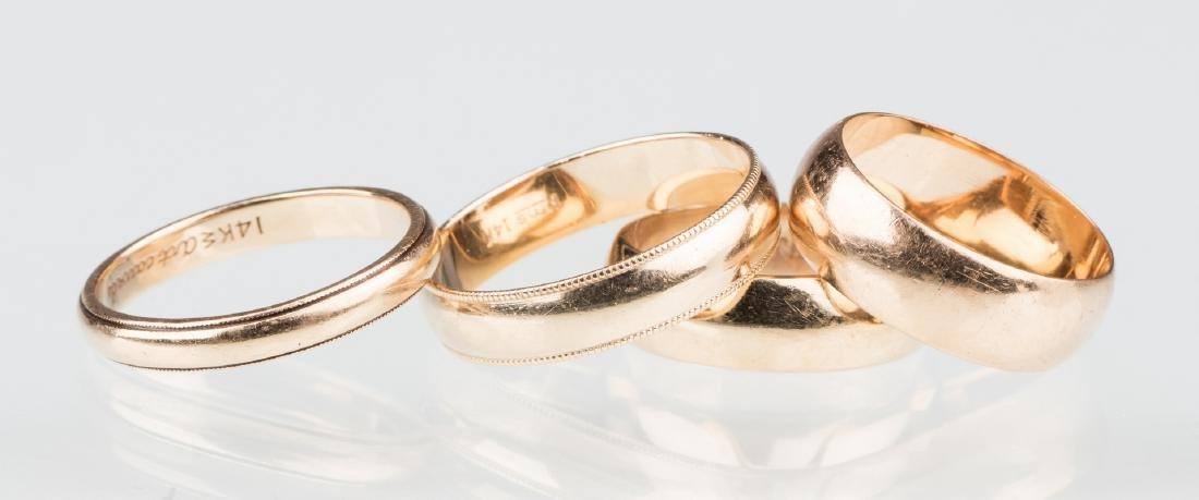 4 gold wedding bands, 14K & 18K - 3