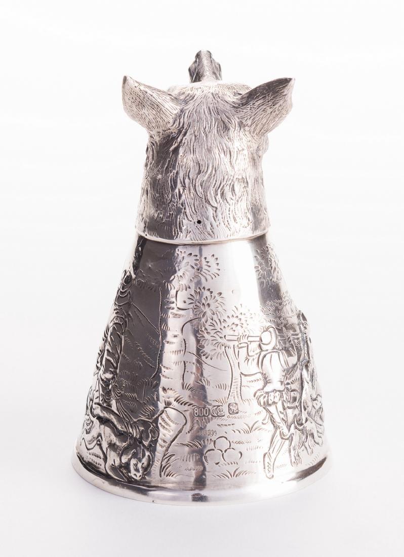 Wolf Head German Silver Stirrup Cup - 5