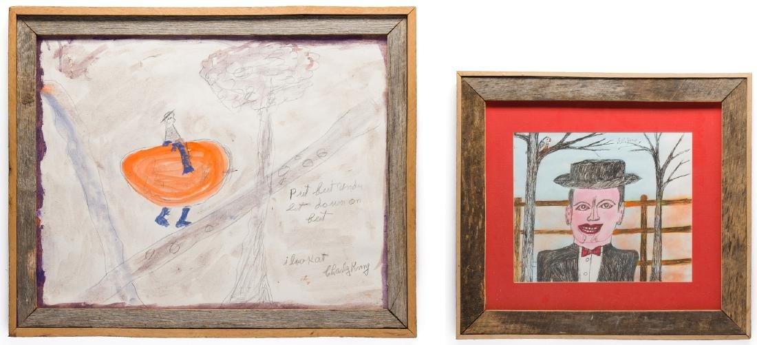 2 Folk Art Paintings, S. L. Jones & Charly King