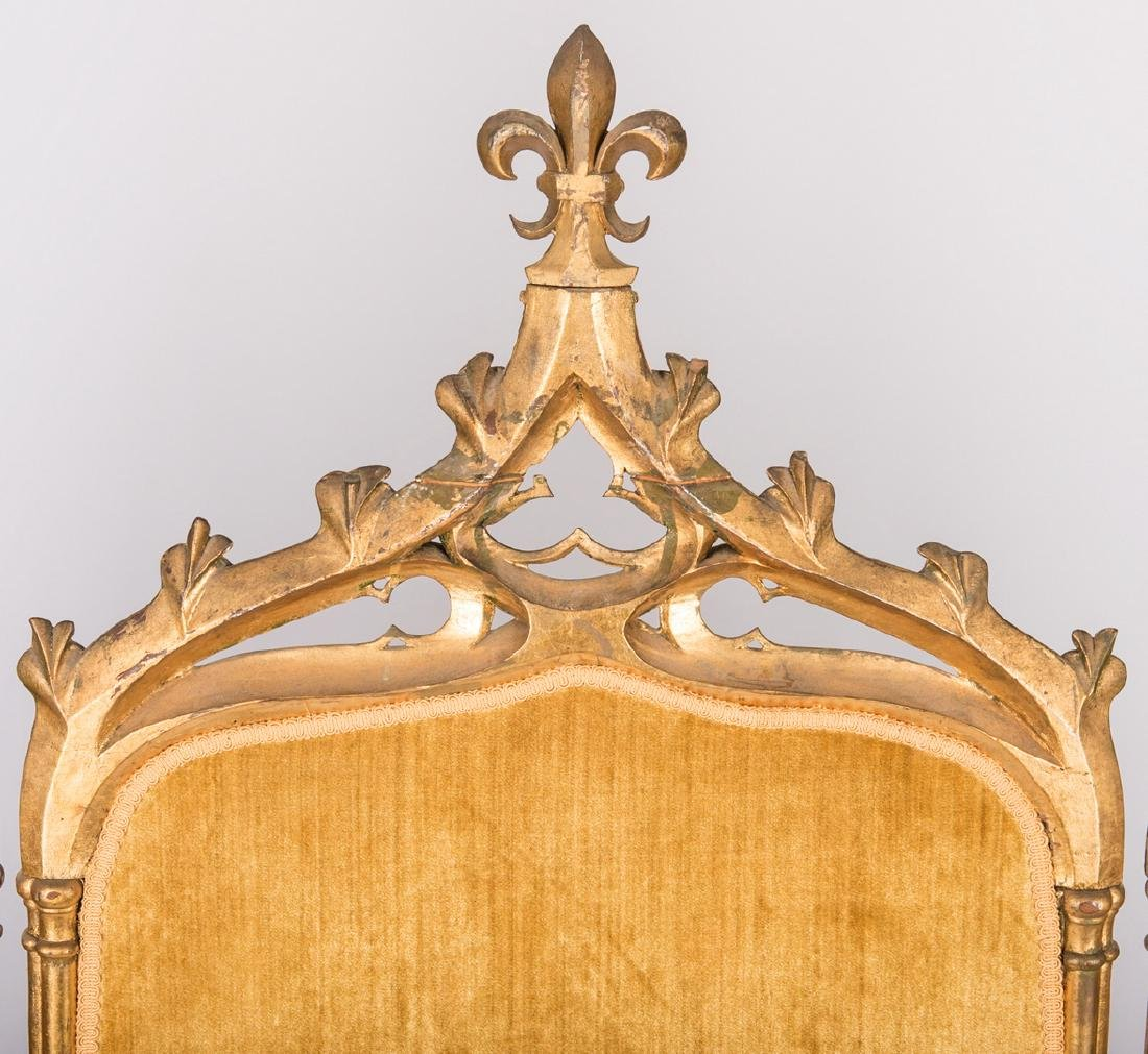 American Gothic Revival Gilt Settee - 10