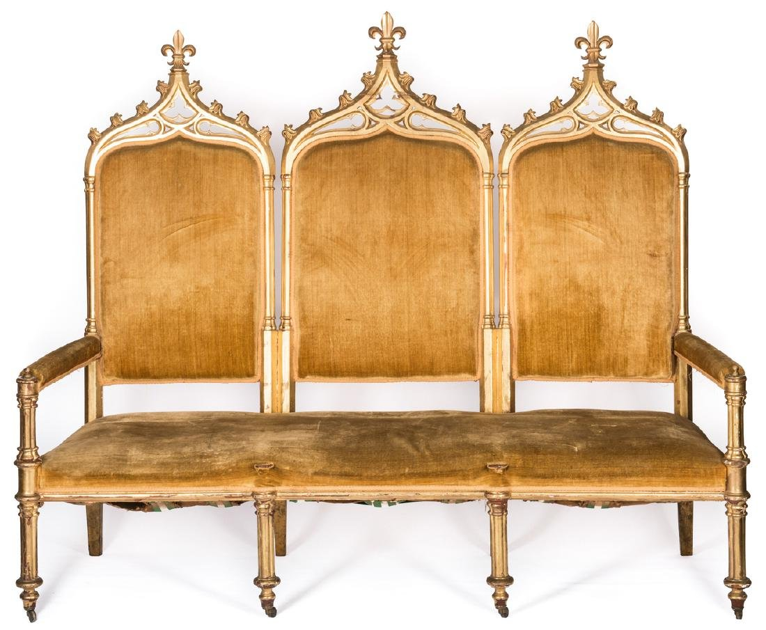 American Gothic Revival Gilt Settee