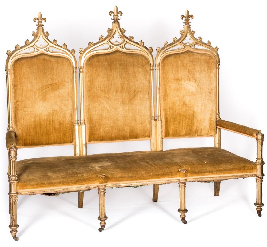 American Gothic Revival Gilt Settee - 2