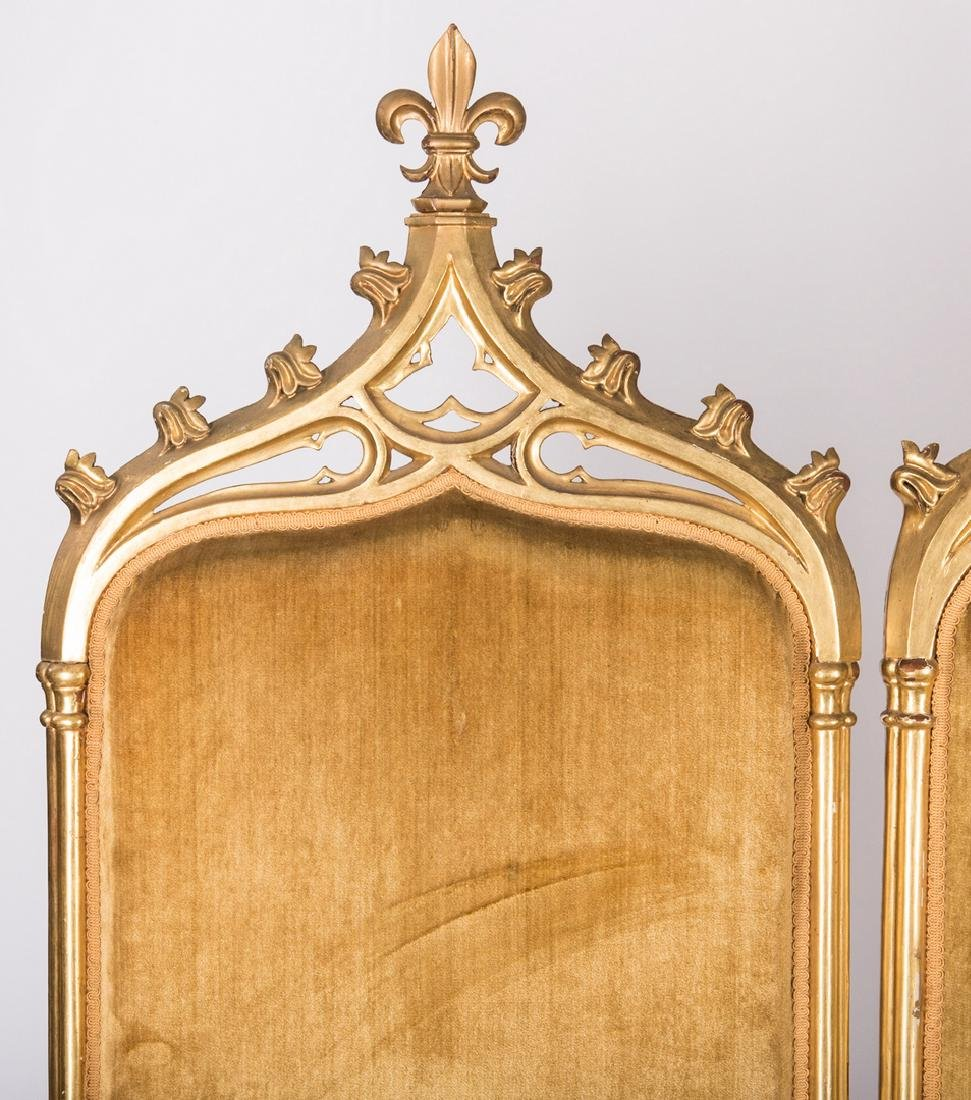 American Gothic Revival Gilt Settee - 3