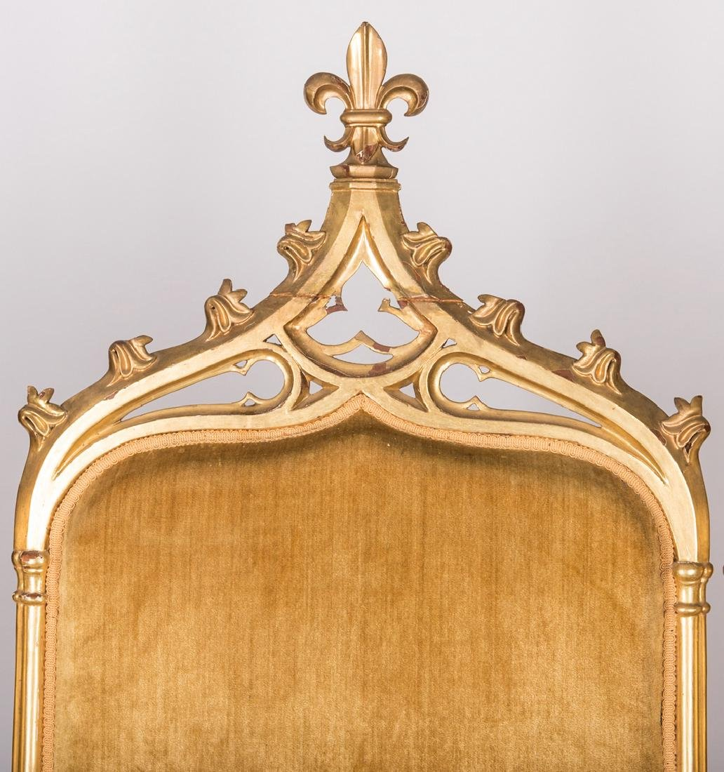 American Gothic Revival Gilt Settee - 4