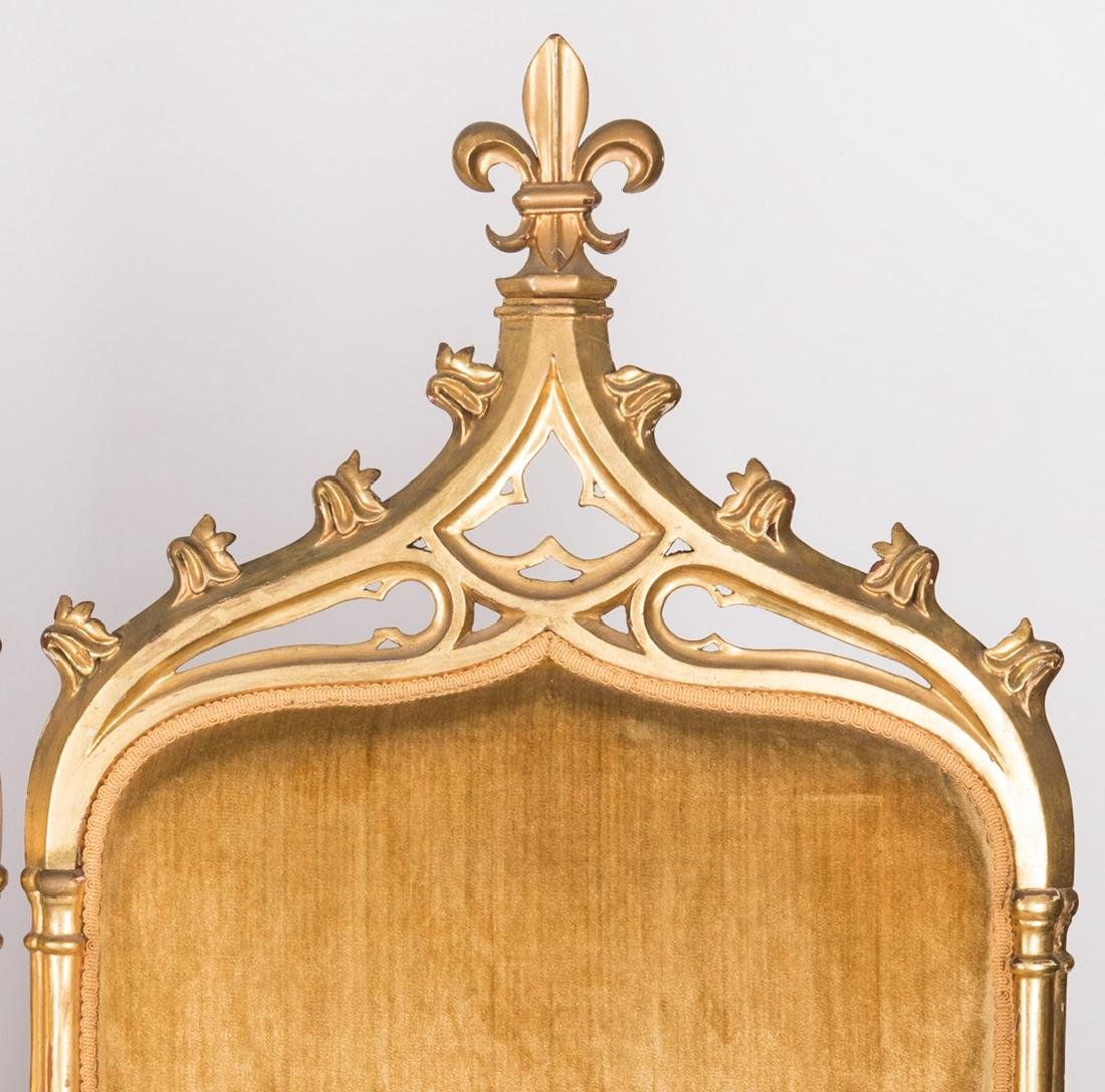 American Gothic Revival Gilt Settee - 5