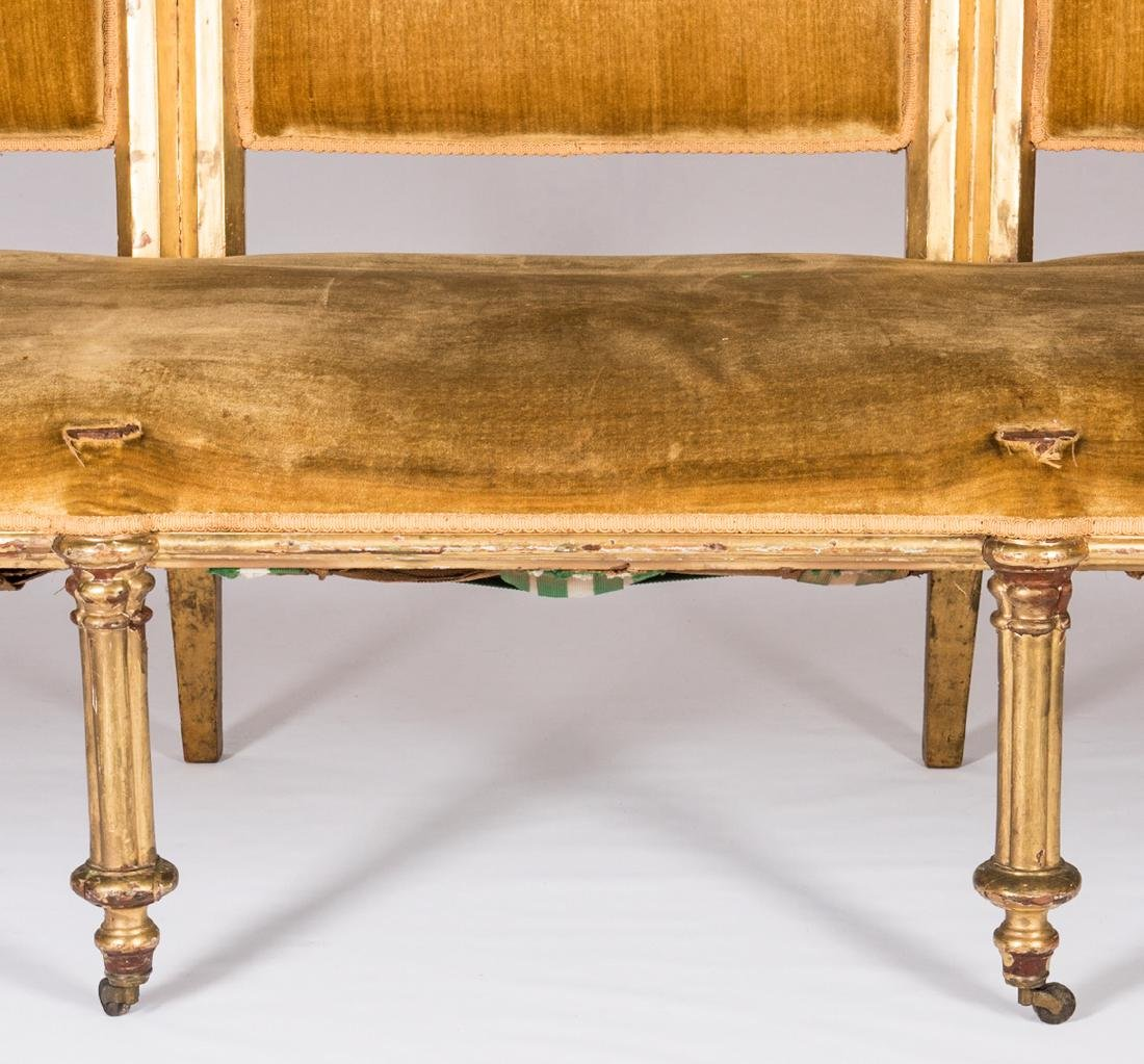 American Gothic Revival Gilt Settee - 6