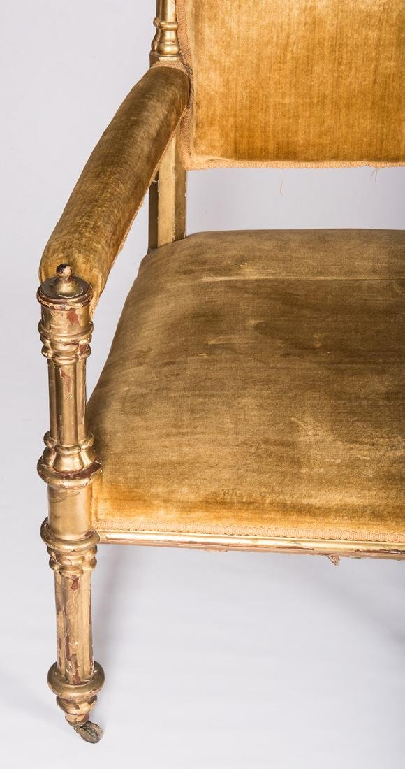 American Gothic Revival Gilt Settee - 7