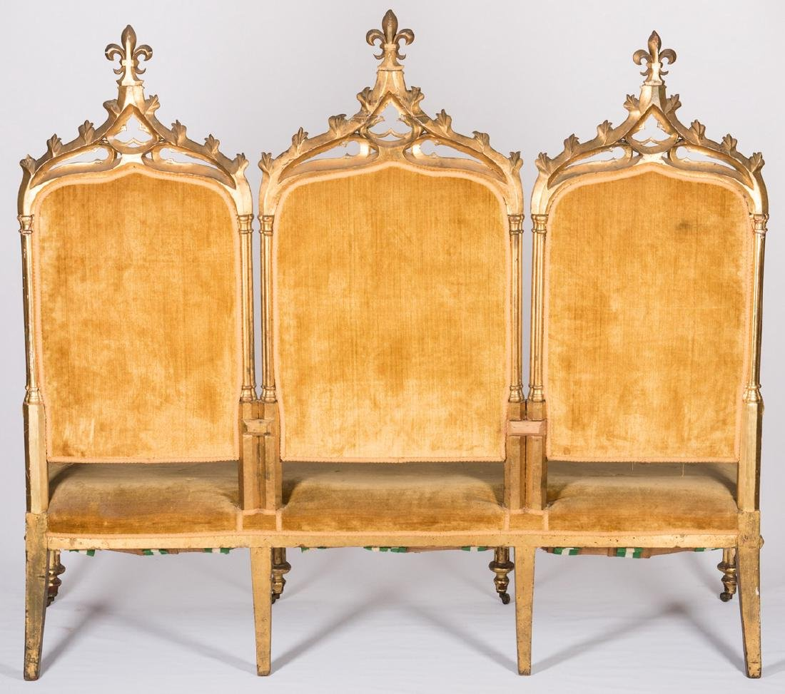 American Gothic Revival Gilt Settee - 8